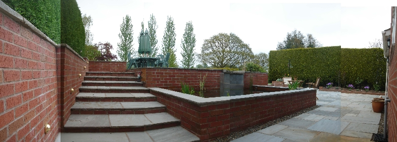 Hard Landscaping - Paved Steps and Walled Garden area