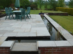 Hard Landscaping patio area and water feature